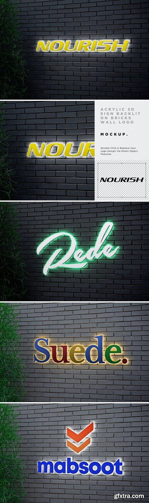 Acrylic 3D Sign Backlit Logo Mockup