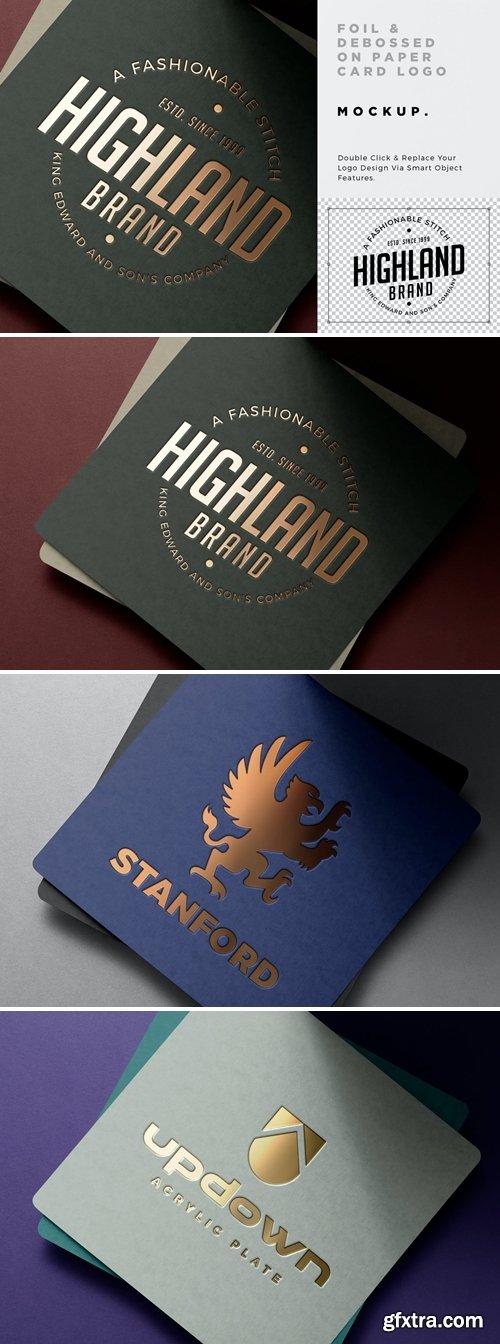 Gold Foil Debossed Card Logo Mockup