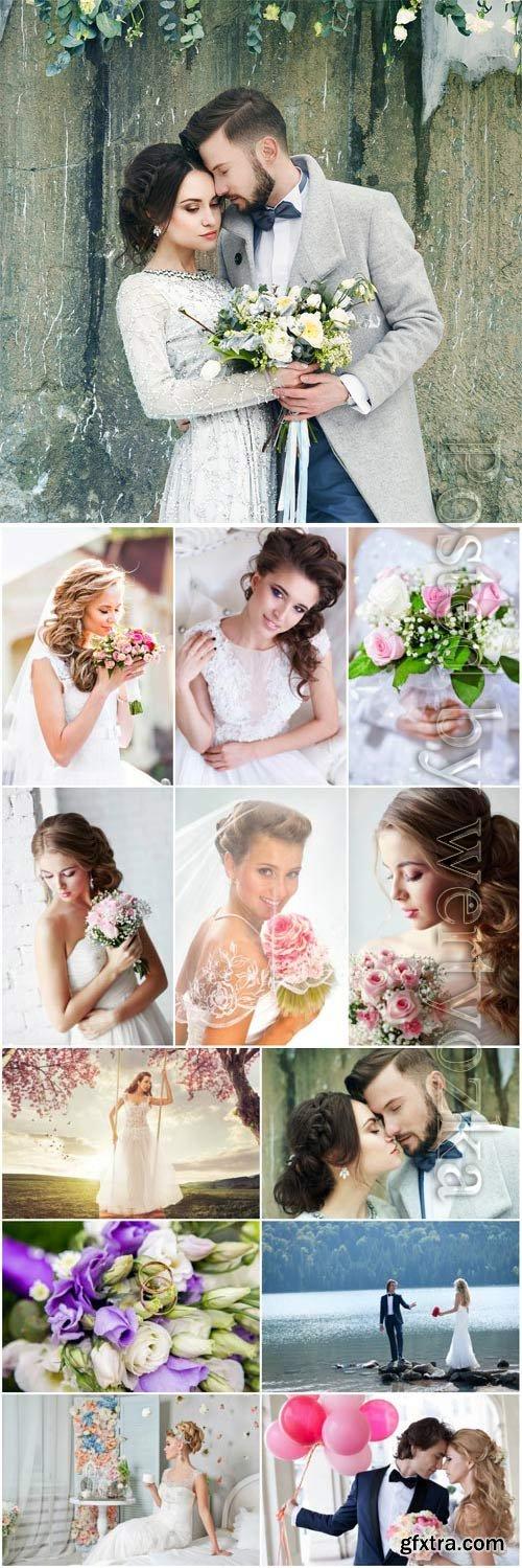 Wedding concept, bride and groom stock photo