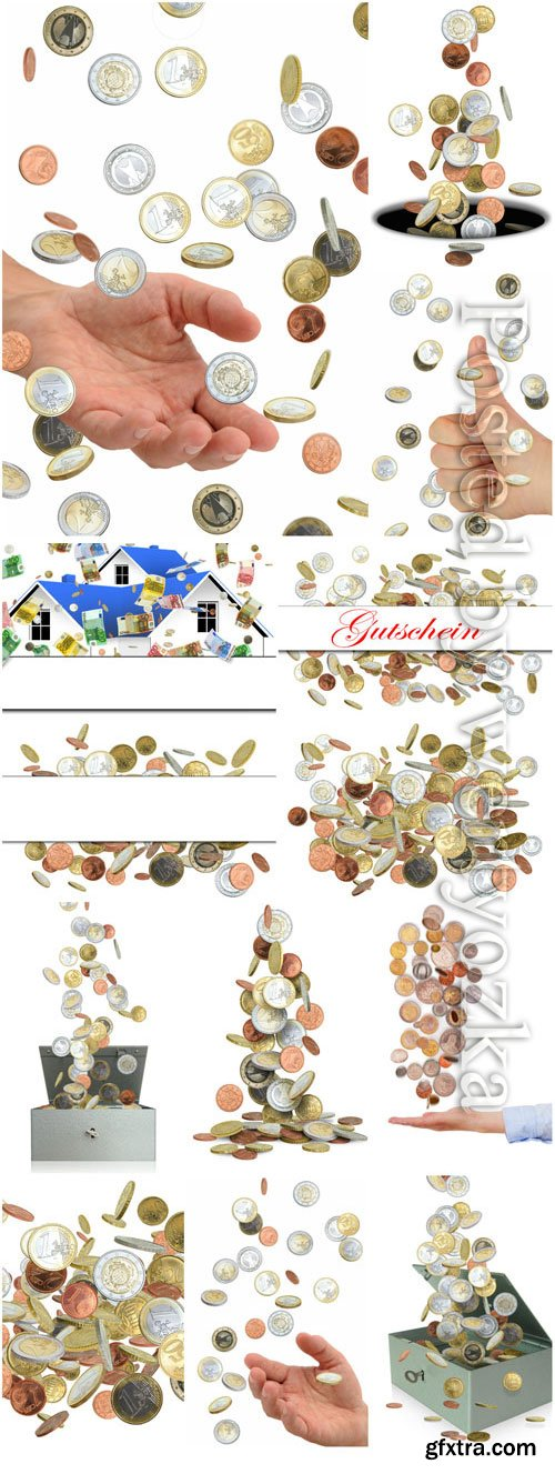Scattering of coins, money in hands stock photo