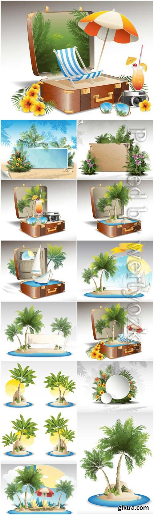 Summer and vacation concept, palms and cocktails stock photo