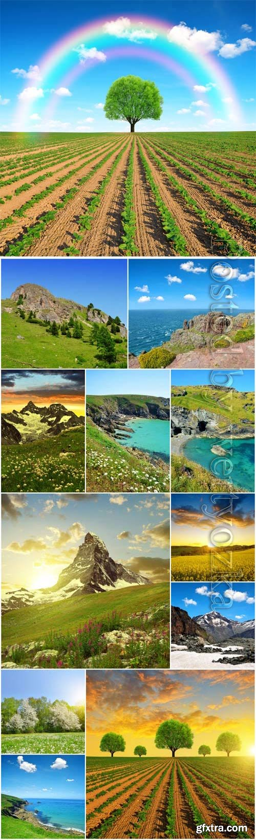 Beautiful nature mountains and meadows stock photo