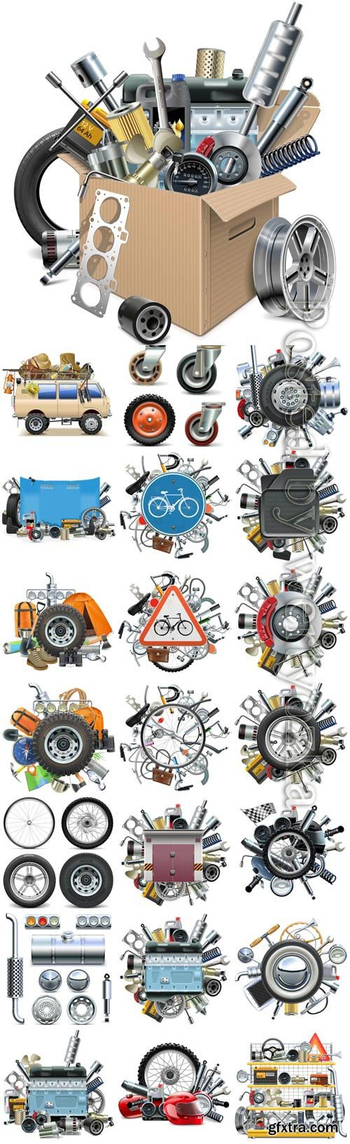 Car tools and auto parts for transport in vector