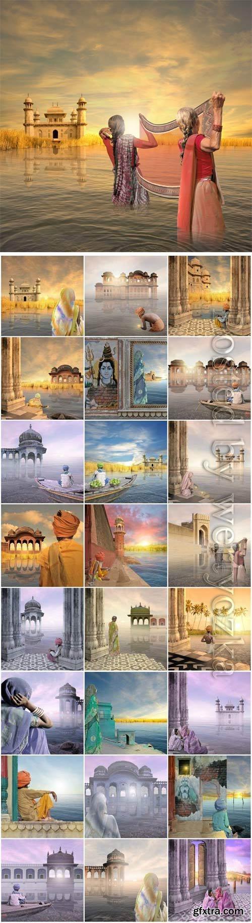 india landmarks stock photo