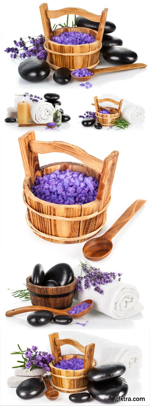 Lavender and spa stones stock photo