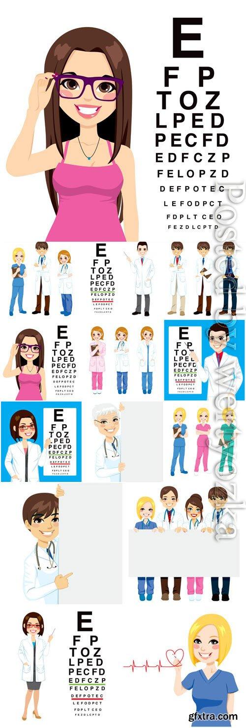 People doctors, medicine in vector