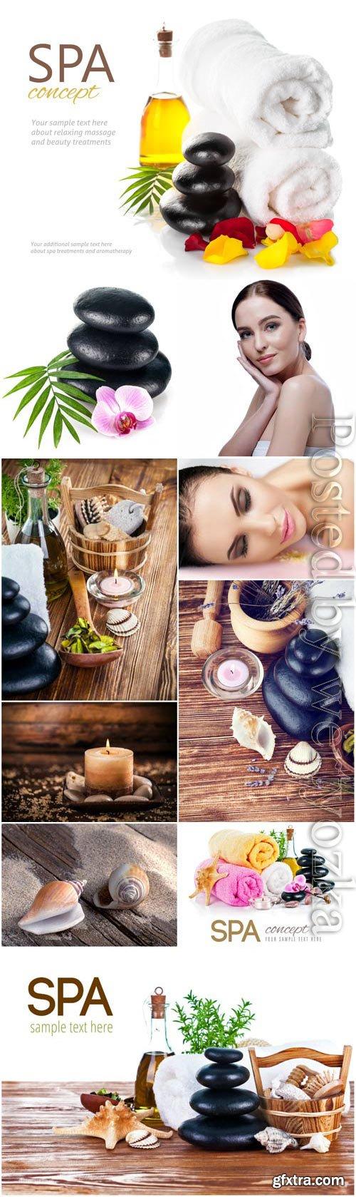 Spa concept, girl in spa salon stock photo