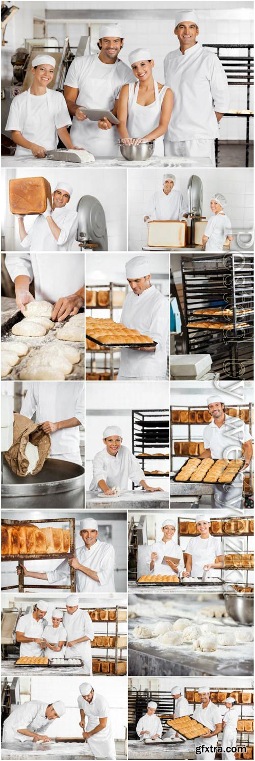 People working in a bakery stock photo