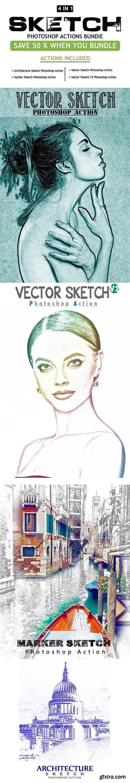 GraphicRiver - Sketch 4 IN 1 Photoshop Action Bundle 25708636