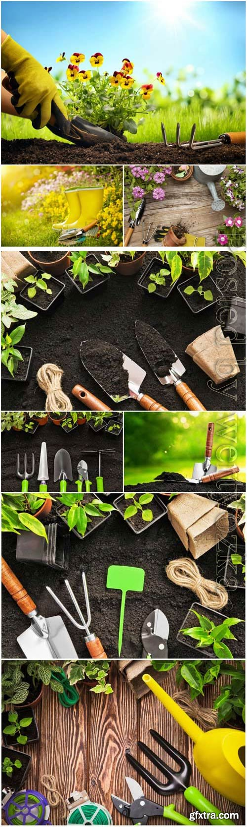 Gardening, tools to care for flowers and trees stock photo