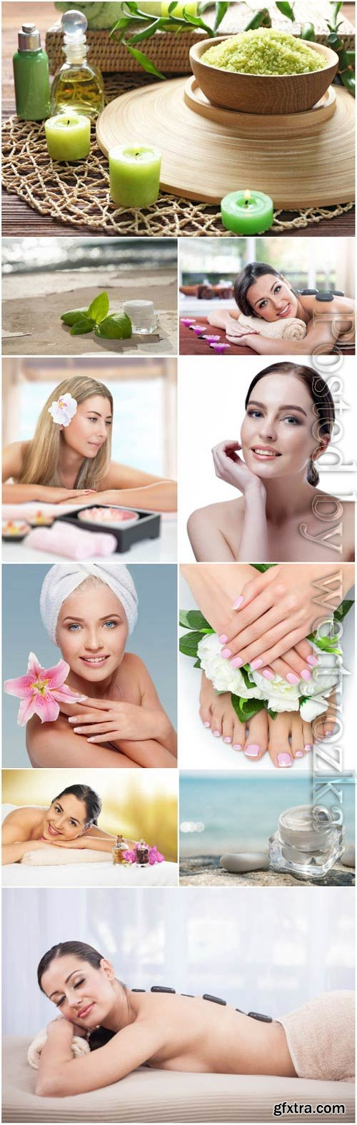 Girls in spa salon stock photo