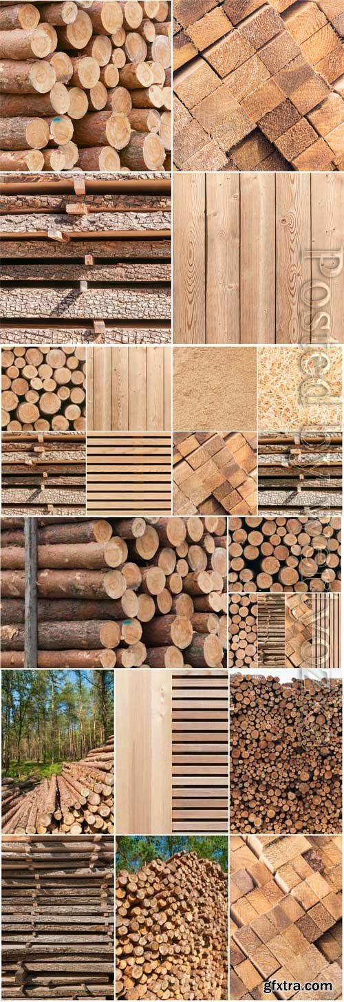 Wood, firewood and boards stock photo