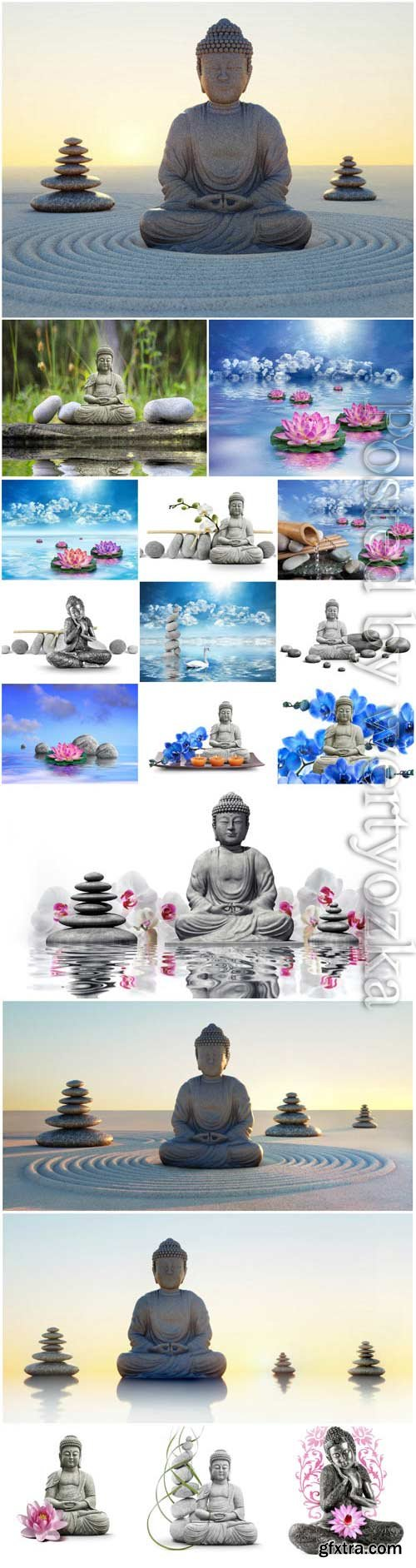 Buddha, spa stones and orchids stock photo