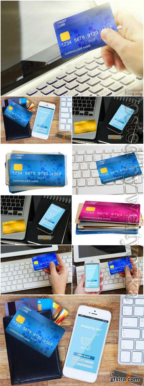 Credit cards, modern technology stock photo