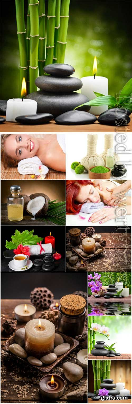 Spa composition and girls stock photo