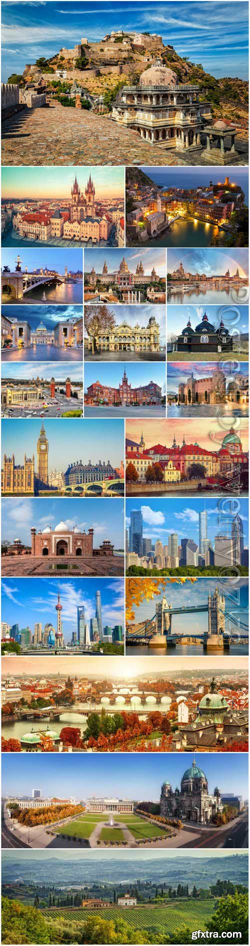 Beautiful architecture of different countries of the world stock photo
