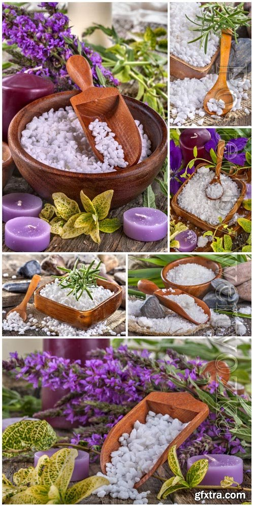 Candles and lavender, spa composition stock photo