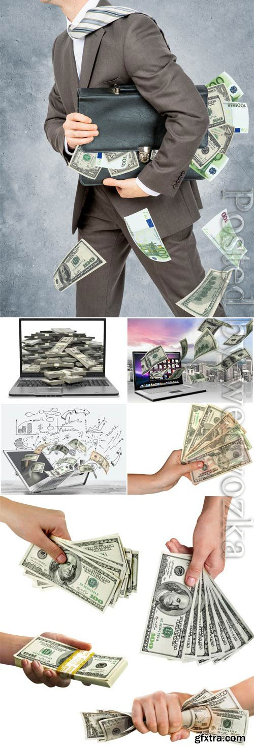 Money in hands stock photo