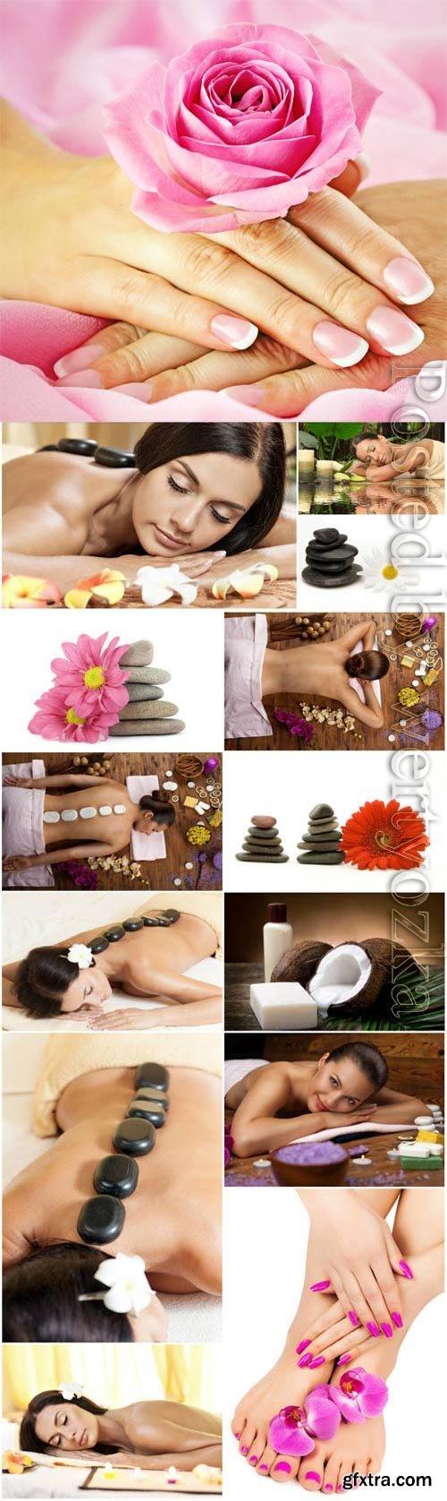 Girls on spa treatments stock photo