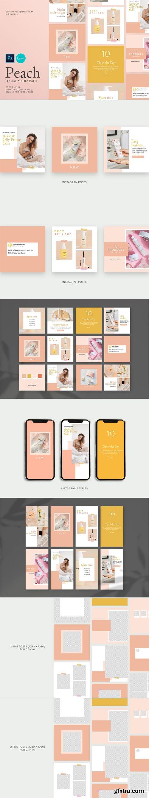 CreativeMarket - Peach Instagram Templates Pack - 4827213