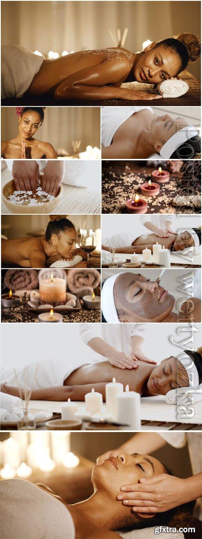 Massage in spa salon stock photo