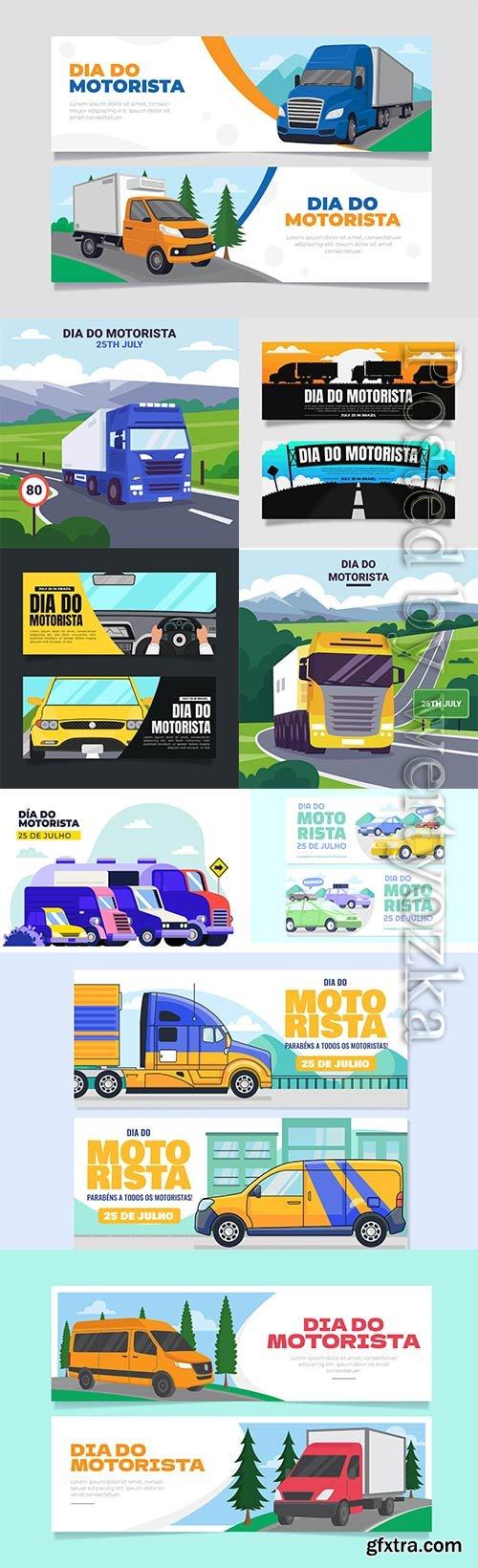 Dia do motorista banners vector set