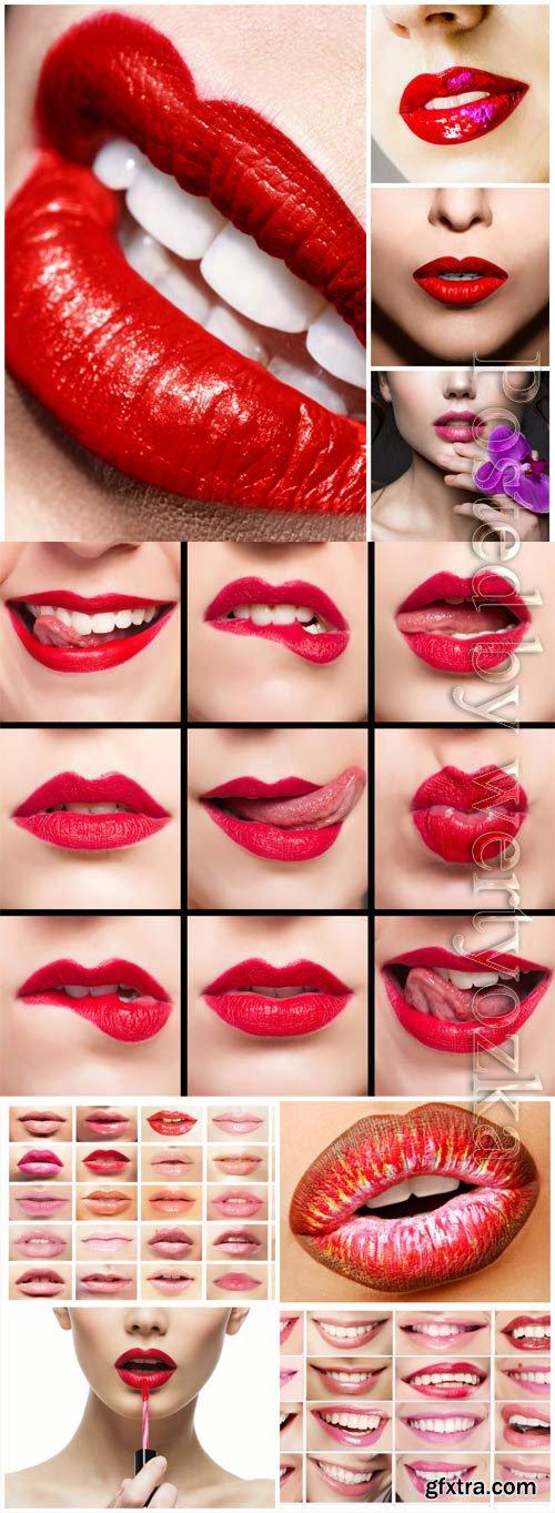 Lips and lipstick stock photo