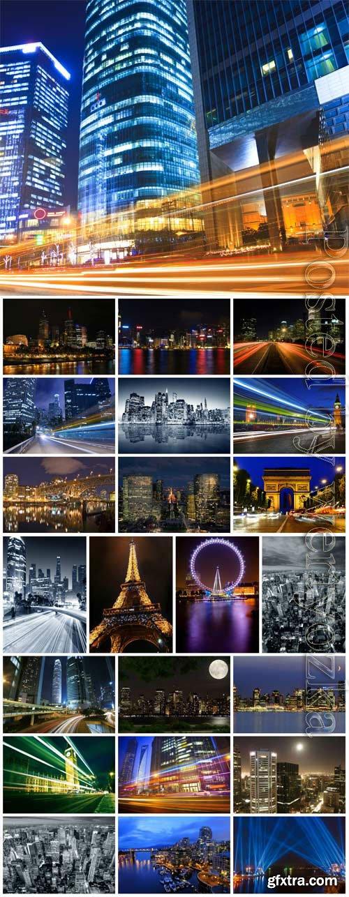 Beautiful night city stock photo