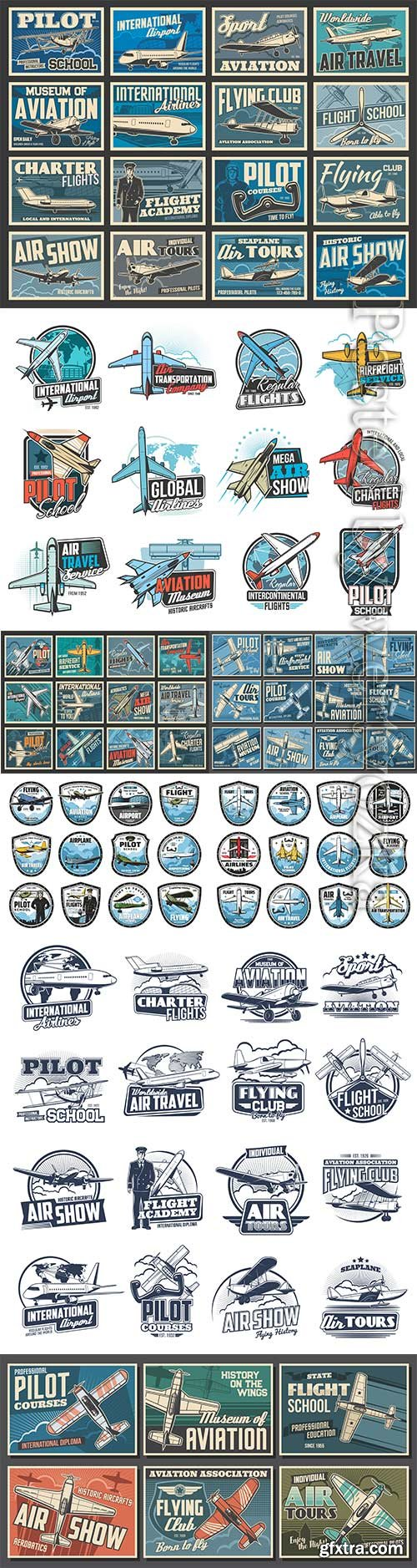 Aviation, air flight icons, airplane pilot school
