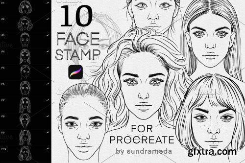 CreativeMarket - Face Stamp Brushes Procreate 5909479