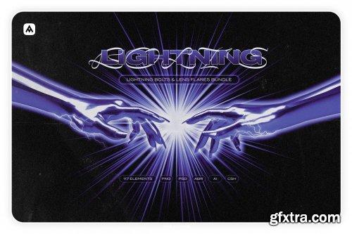 CreativeMarket - Lightning bolts & lens flares bundle 6119414