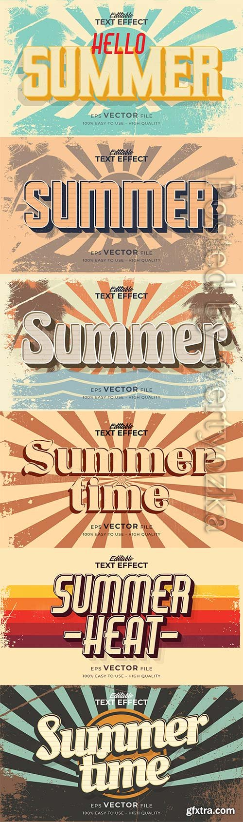 Text style effect, retro summer text in grunge style vol 2