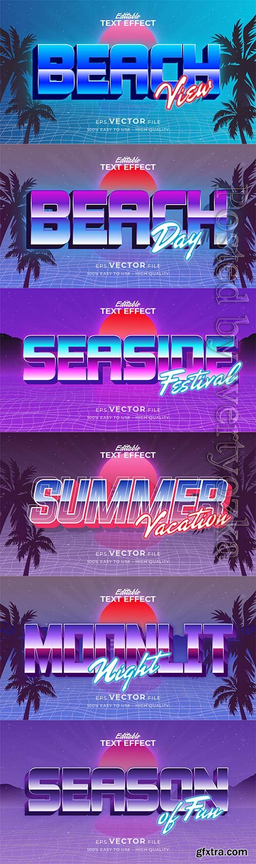 Text style effect, retro summer text in grunge style vol 6