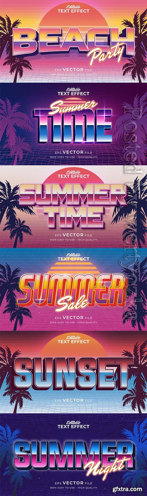 Text style effect, retro summer text in grunge style vol 9
