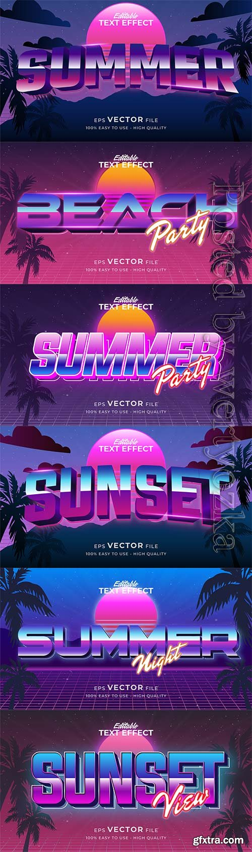 Text style effect, retro summer text in grunge style vol 5