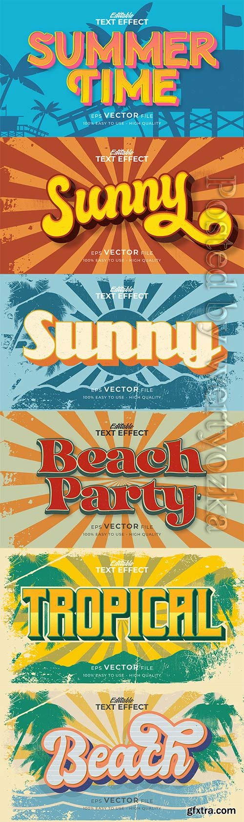 Text style effect, retro summer text in grunge style vol 3