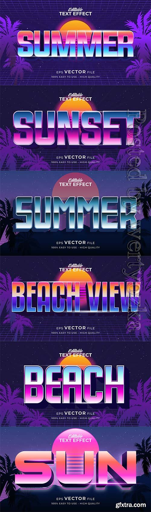 Text style effect, retro summer text in grunge style vol 4