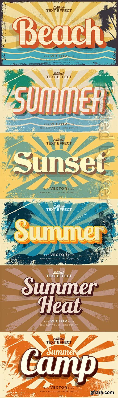 Text style effect, retro summer text in grunge style