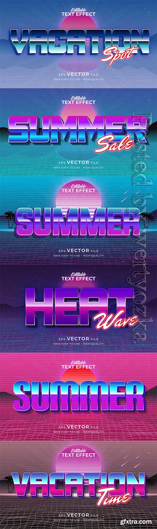 Text style effect, retro summer text in grunge style vol 7