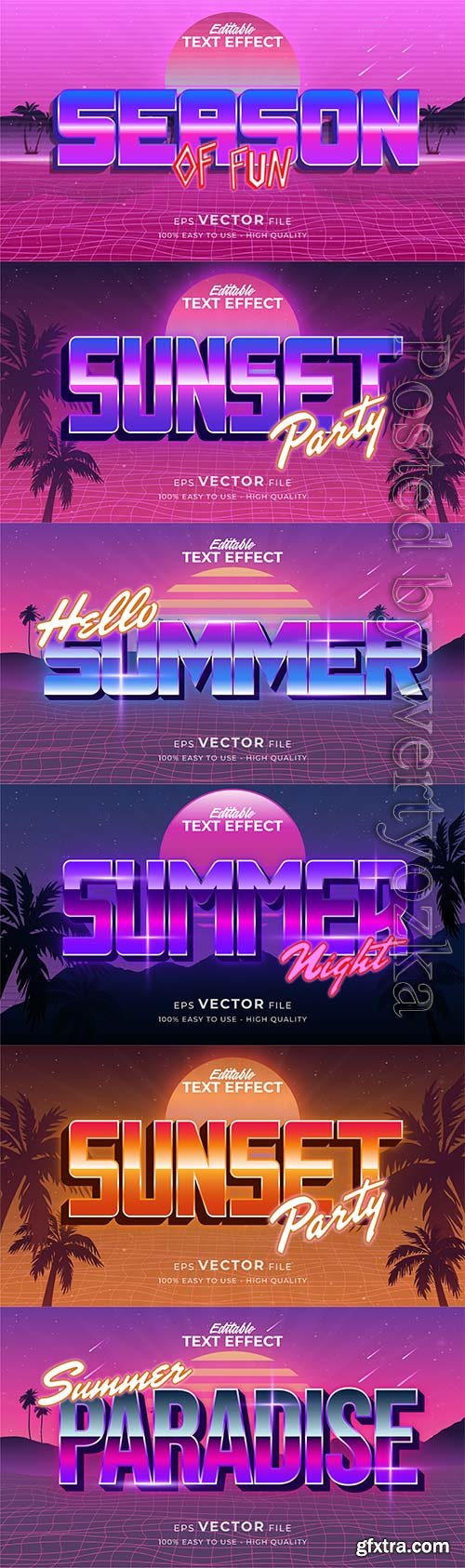 Text style effect, retro summer text in grunge style vol 8