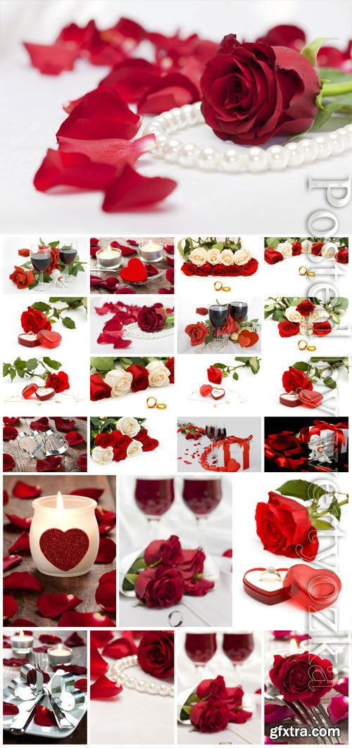 Red roses and engagement ring stock photo
