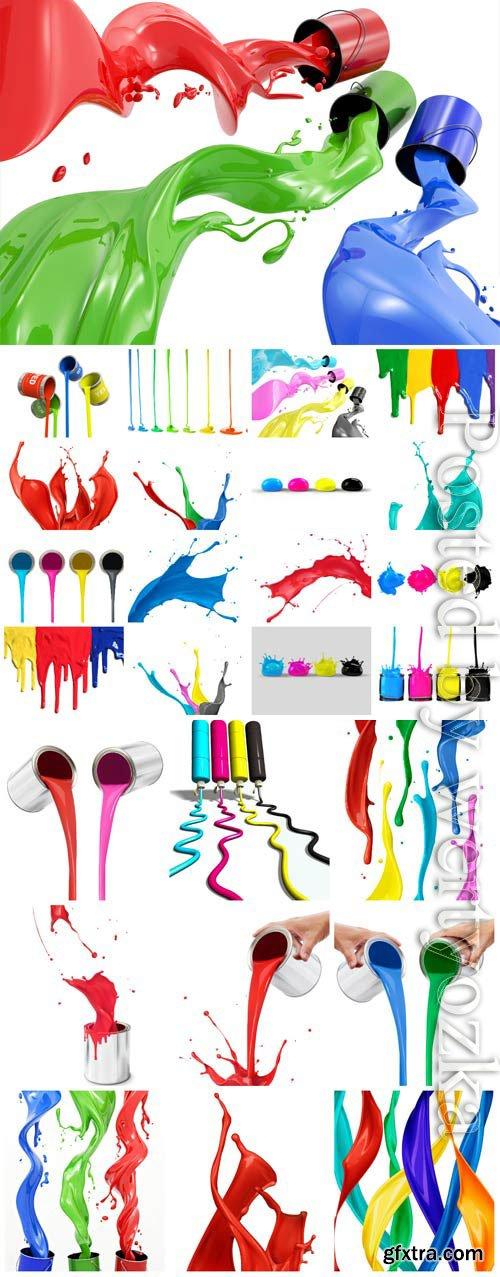 Splashes of multicolored paint stock photo