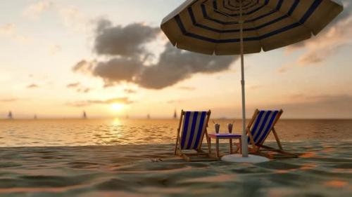 Videohive - Sunny Sandy Beach With a Sun Lounger, Umbrella And a Cocktail - 32443061 - 32443061