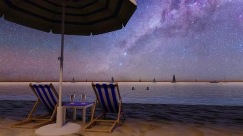 Videohive - Night Sandy Beach With a Sun Lounger, Umbrella And a Cocktail - 32443062 - 32443062
