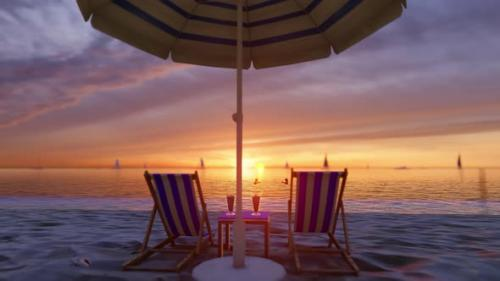 Videohive - Sunset Sandy Beach With a Sun Lounger, Umbrella And a Cocktail - 32443063 - 32443063