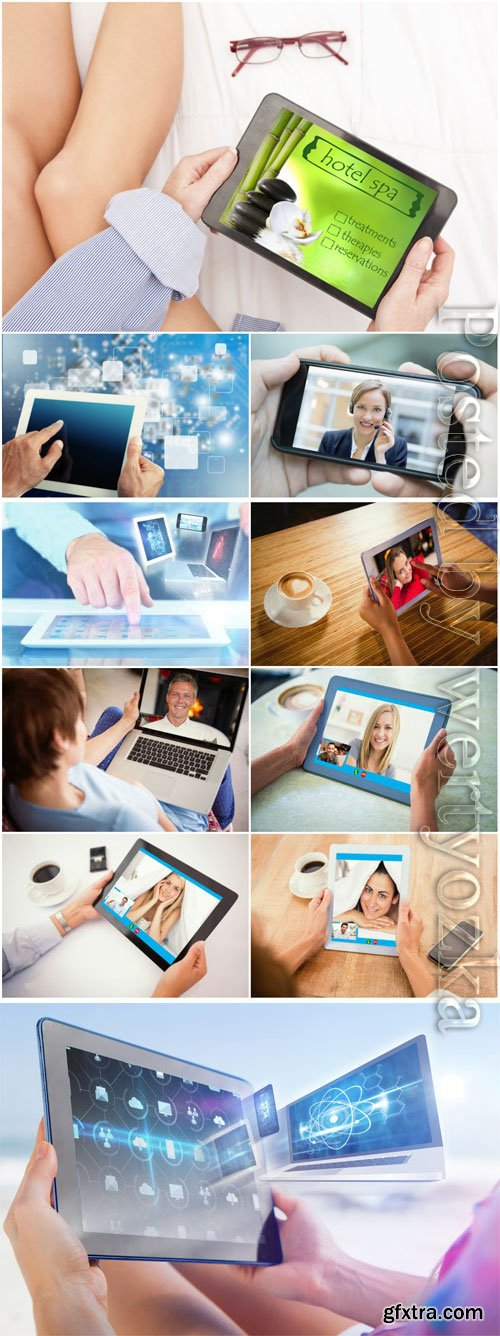 Modern technology, gadgets in the hands of people stock photo