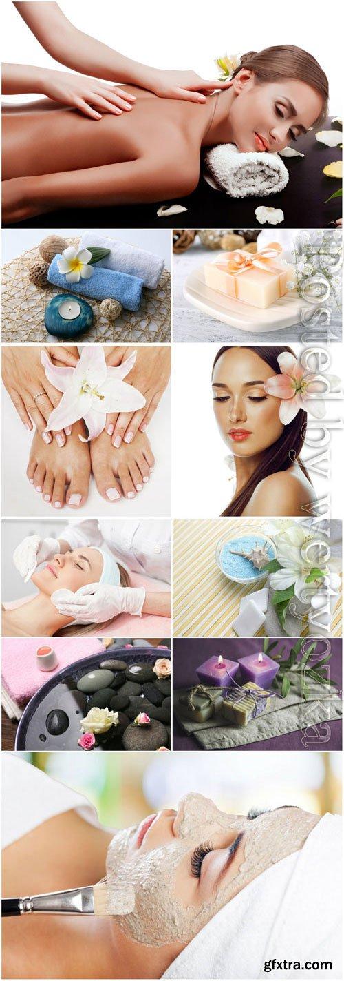Massage in spa salon, spa composition stock photo