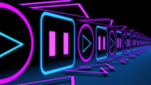 Videohive - Neon Retro Audio Player Icons - 32519519 - 32519519