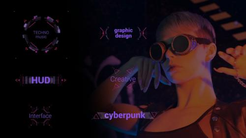 Videohive - Techno HUD Titles 4K - 32563915 - 32563915