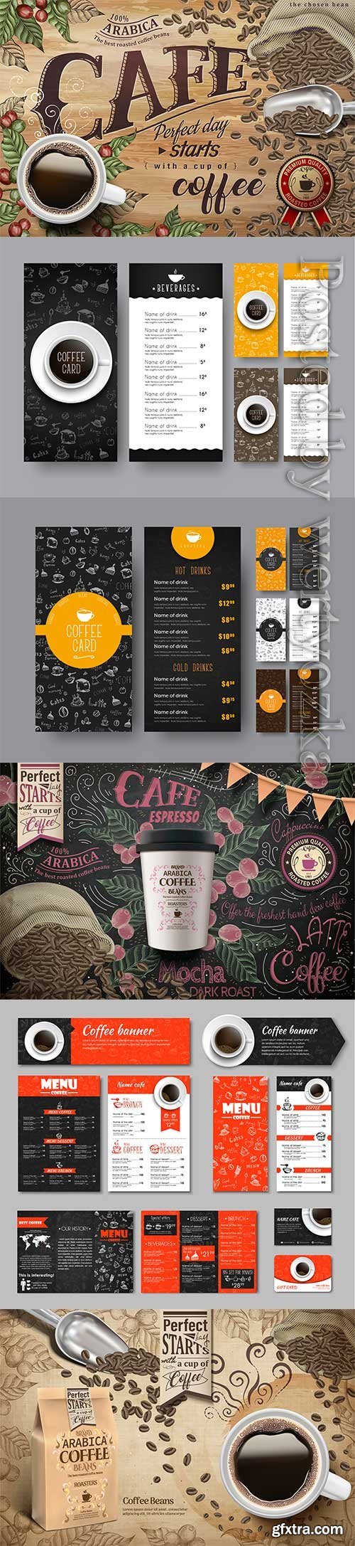 Template of the coffee menu for a cafe or restaurant